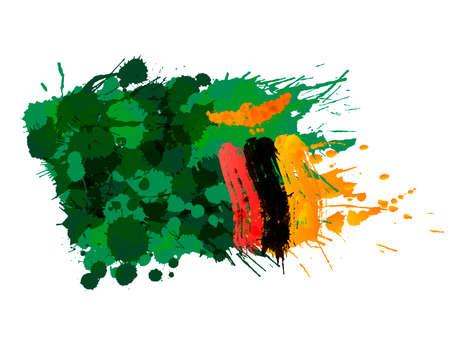 Drapeau de la République de Zambie fait d'éclaboussures colorées