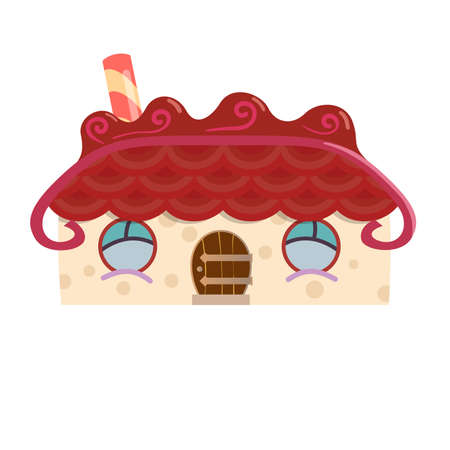 Gingerbread house isolated fairy tale vector illustration Imagens - 132236896