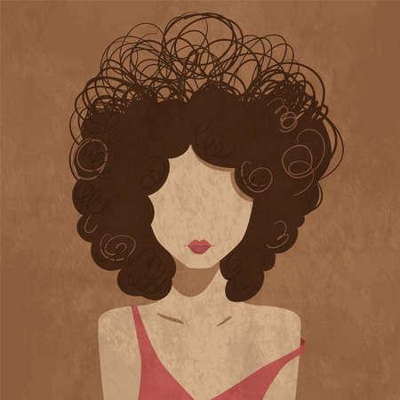 Minimalistic curly young girl portrait. Fashion vector illustration. Ilustração