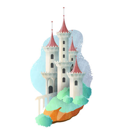 Fairy tale magic castle with high towers. Vector illustration