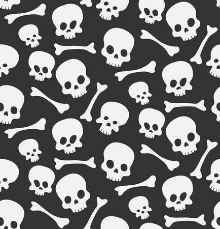 Skulls and bones vector seamless pattern background. Suitable for wallpaper, wrapping, fabric and backgrounds