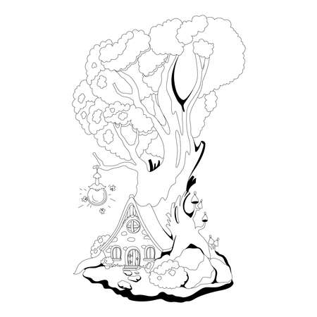 Coloring book: Magic house in roots of the tree. Fairy tale vector illustration Vetores