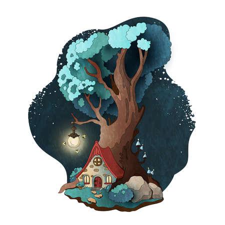 Casa mágica en raíces del árbol. Ilustración de vector de cuento de hadas