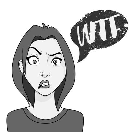 Young woman with confused face expression and  wtf speech bubble
