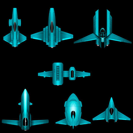 Set of space ships for 2d top down space shooter video games