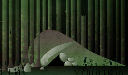 Cave or den in the dark forest. Fairytale vector illustration.