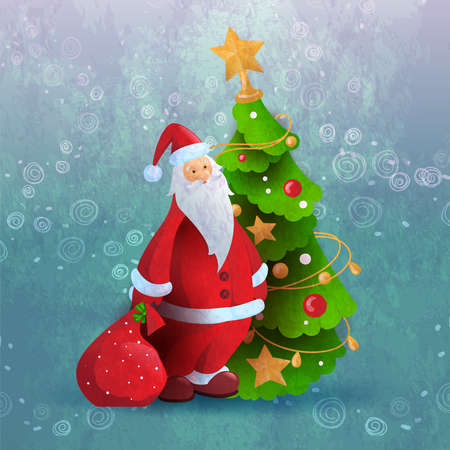 Santa Claus or Russian Ded Moroz with bag of presents in front of decorated Christmass tree. Suits for greeting card or poster. New Year vector illustration