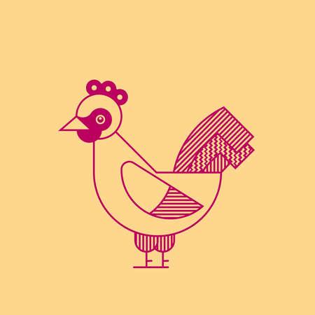 Rooster simple outline illustration. Cock geometric vector logo. Ilustração