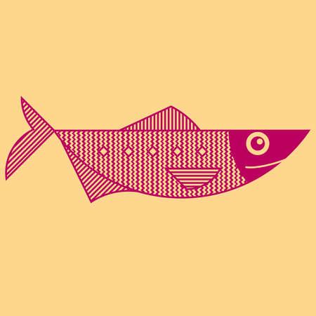 Line art style outline fish illustration