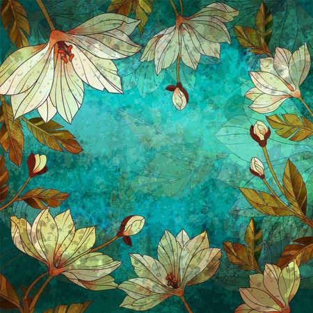 Floral watercolor outline background. Vintage style flowers on grunge background. Ilustração