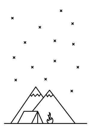 Landscape with mountains, tent and campfire. Outdoor travel concept. Line art illustration