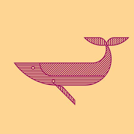 Line art style humpback whale geometric  illustration. Ilustração