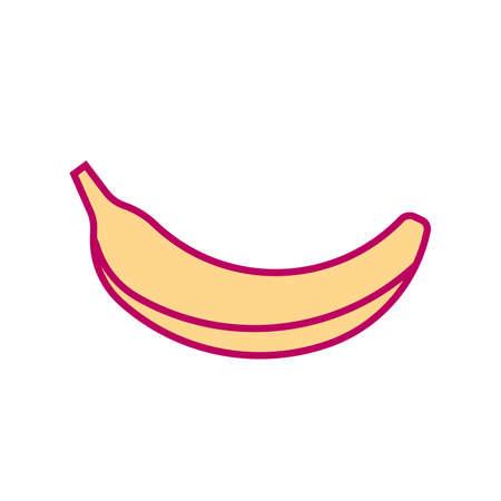 Minimal style banana illustration. Icon or logo design. Ilustração