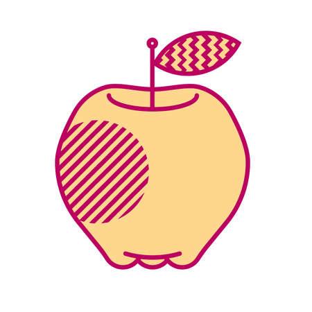 Minimal style apple illustration. Icon or logo design.