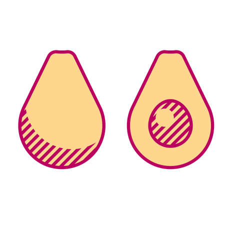 Minimal style avocado sliced and whole illustration. Icon or logo design.