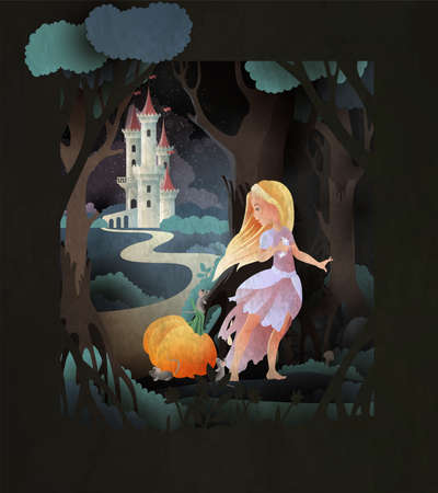Cinderella holding shoe in hand with pumpkin and mice in front of night forest and castle. Fairy tale illustration. Stock Illustratie