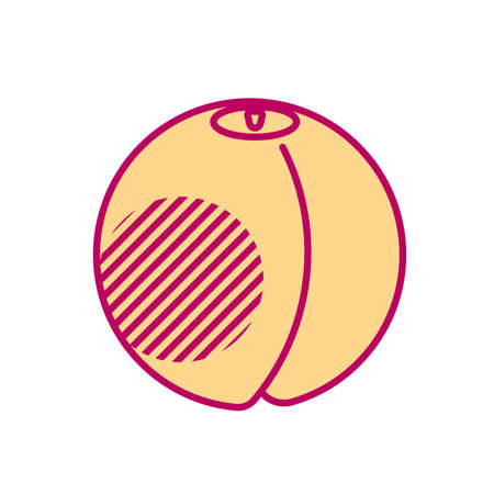 Minimal style peach illustration. Icon or logo design.
