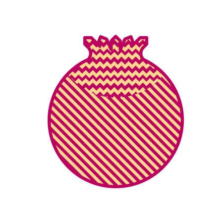 Minimal style pomegranate illustration. Icon or logo design.