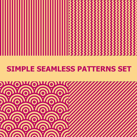 Set of 4 minimal style patterns. Retro style ornaments suitable for textile, wrapping paper, tiles and backgrounds.