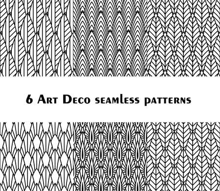 Set of 6 fish scale art deco style patterns. Retro style ornaments suitable for textile, wrapping paper, tiles and backgrounds.