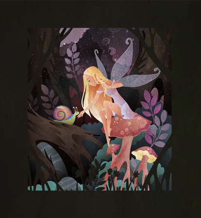 Fairytale illustration cute fairy with transparent wings sitting on a mushroom with snail in front of magic dark forest.