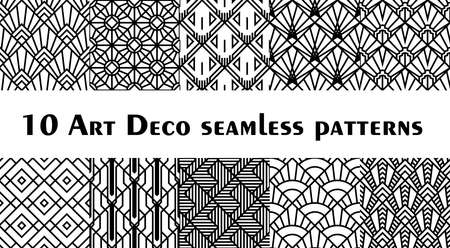 Set of 10 fish scale art deco style patterns. Retro style rhombus ornaments suitable for textile, wrapping paper, tiles and backgrounds. Ilustração