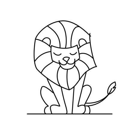 Coloring book: Cute little lion character  イラスト・ベクター素材