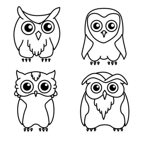 Coloring book: set of 4 cute owls