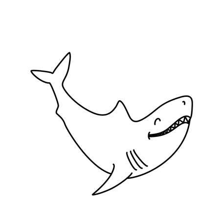 Coloring book: Cute smiling shark