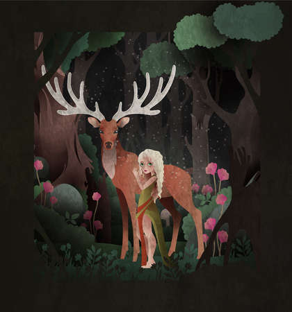 Fairy tale illustration girl and king stag in front of dark magic forest