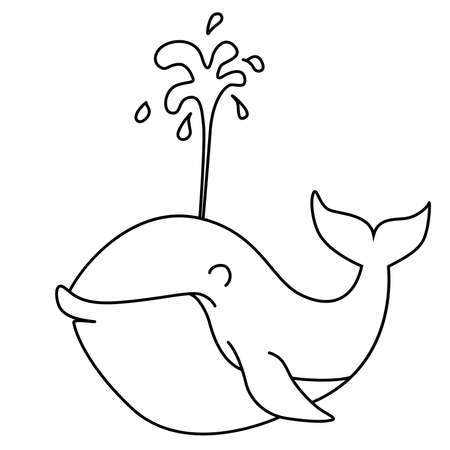 Coloring book: cheerful whale with fountain of water