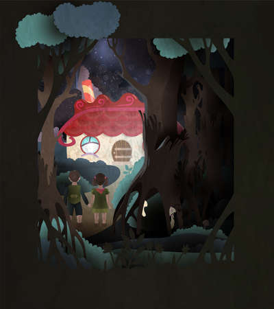 Hansel and Gretel fairy tale book cover illustration. Boy and girl holding hands in front of gingerbread house in the dark forest Ilustração