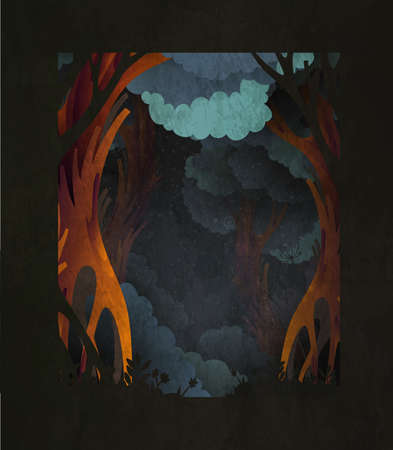 Dark magic fairytale forest background with space for text. Template for poster, print or greeting card