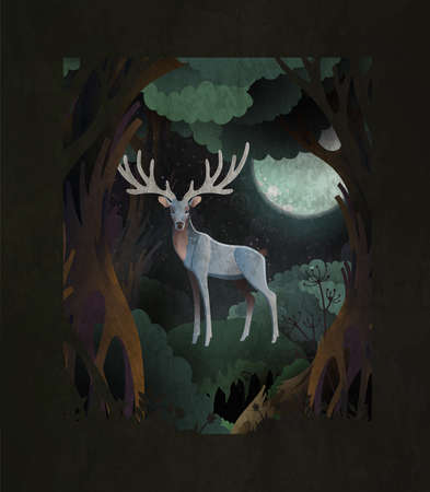 Fairytale cover illustration silver king stag in front of dark magic forest and fool moon Ilustração