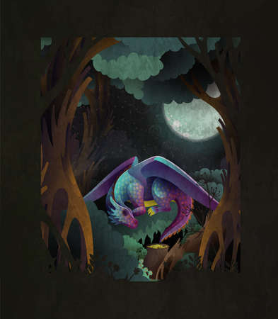 Fairytale cover illustration cute baby dragon sleeping on grass in front of dark magic forest and fool moon