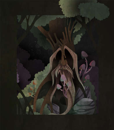 Fairytale book cover illustration ancient tree spirit in the dark forest. Face of old magician on the tree