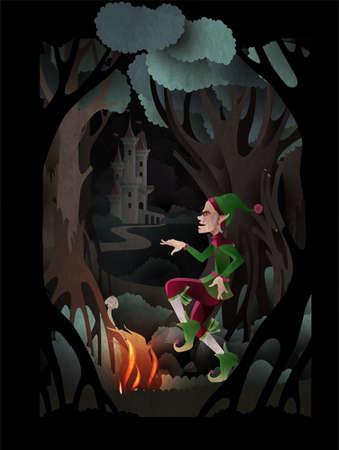 Rumpelstiltskin character dancing near fire in front of dark forest and castle. Fairy tale book cover vector illustration Ilustração