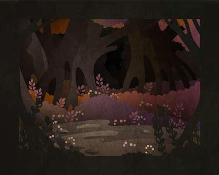 Fairy tale vector illustration. Dark forest background