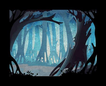 Fairy tale vector illustration. Dark misty forest background Ilustração