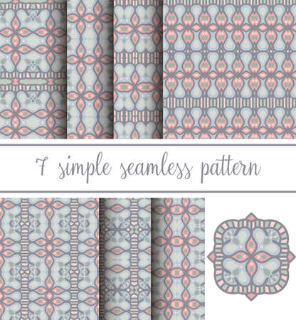 Set of seven neutral simple seamless patterns