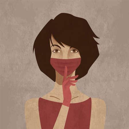 Beautiful young woman wearing facial mask