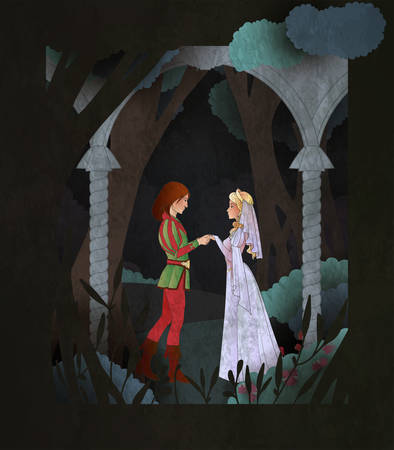 Prince and Princes fairy tale book cover illustration. Couple of character in fron of magic forest.