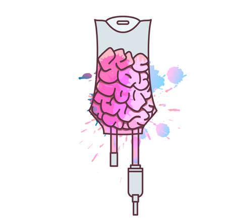 Iv bag with brain. Creativity development or education concept.