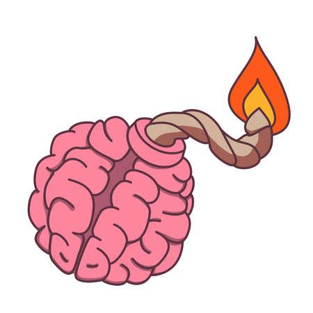 Bomb shaped brain with burning fuse. Mental health or brainstorm concept. Ilustração