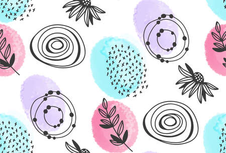Watercolor and ink floral seamless backround
