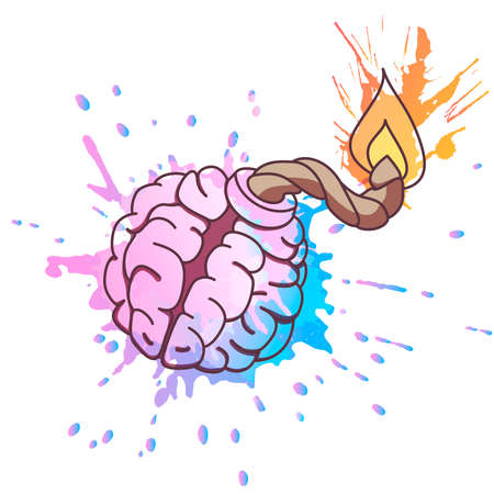 Bomb shaped brain with burning fuse and colorful grunge splashes. Mental health or brainstorm concept.