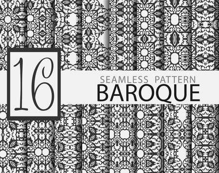 Set of 16 baroque seamless patterns Ilustração