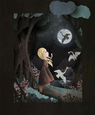 Book Cover The Wild Swans Fairytale Vector Illustration. Little girl looking at her brothers turned into swans and flying away. Ilustração