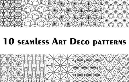 Set of 10 Art Deco and Art Nouveau seamless patterns Ilustração