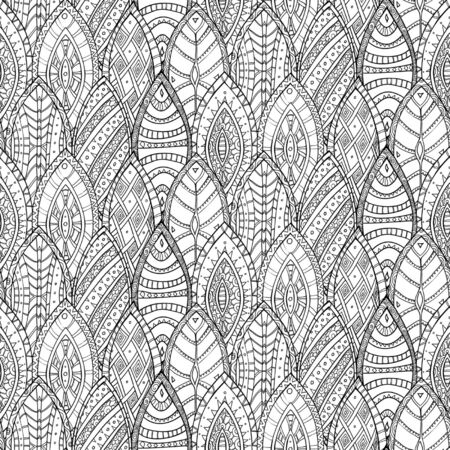 Hand drawn monochrome seamless vector abstract ethnic pattern with ornamental foliage  Vector
